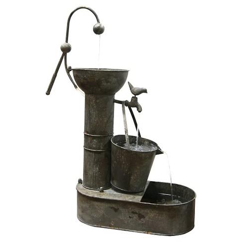 """Alpine Corporation 34"""" Rustic Metal Tiering Water Pump Fountain - Bronze - image 1 of 4"""