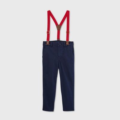OshKosh B'gosh Toddler Boys' Woven Suspender Chino Pants - Navy 12M