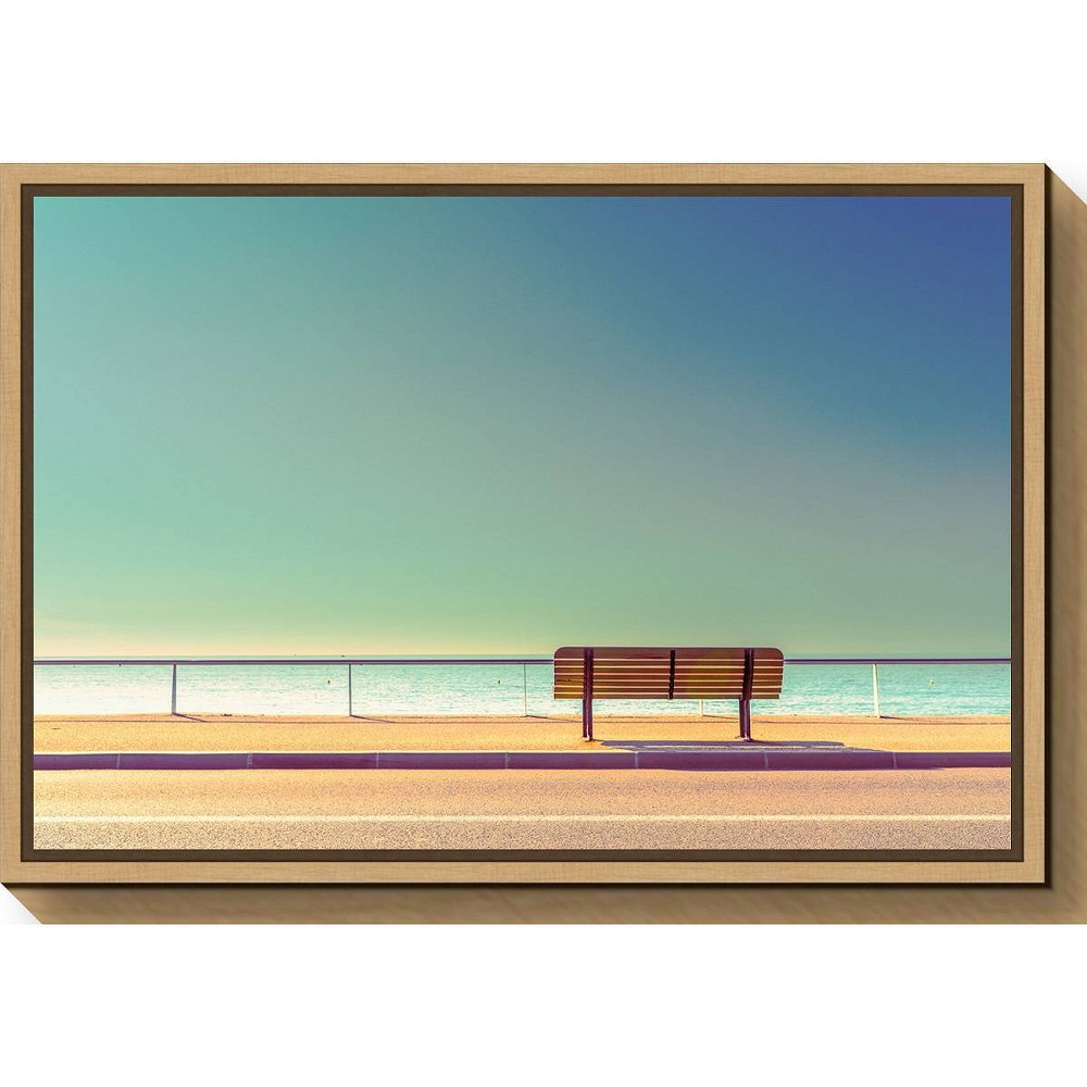 "Image of ""23"""" X 16"""" The Bench By Arnaud Bratkovic Maple - Amanti Art, Brown Blue"""