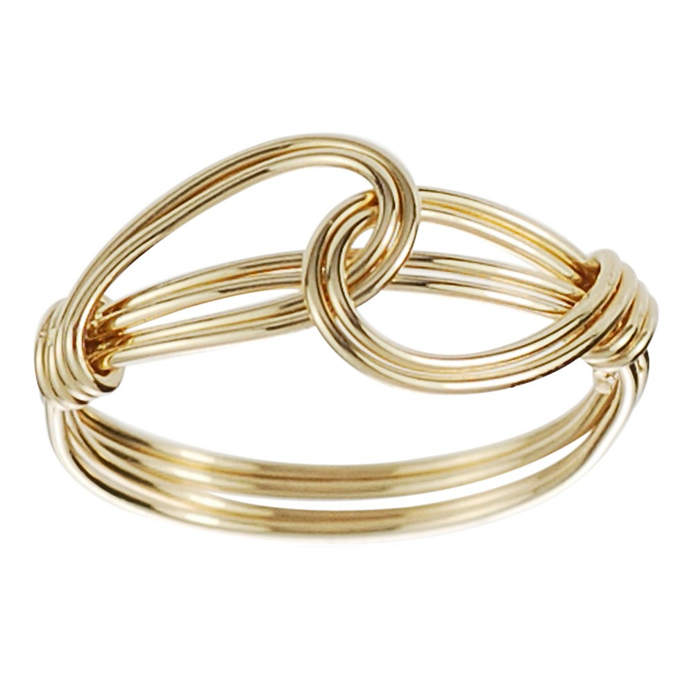 Women's Journee Collection Handcrafted Overlapping Knot Ring in Sterling Silver - Gold, 7