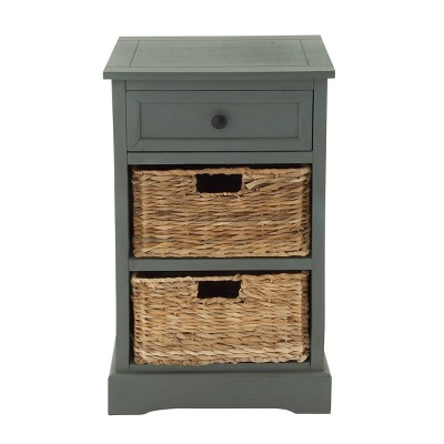 Wood Side Table with Storage and Basket Drawers White - Olivia & May