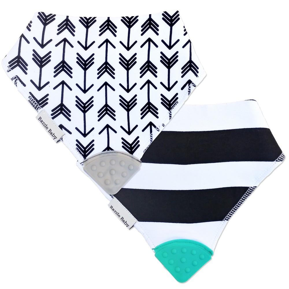 Image of Bazzle Baby Banda Bib 2pk Teether Set - Arrows & Stripes