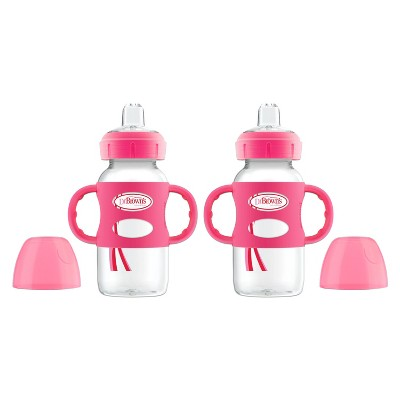 Dr. Brown's Narrow Neck Sippy Bottle with Handles - Pink - 2pk