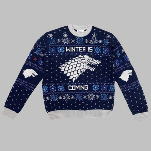 Men's Game of Thrones Winter Is Coming Crew Neck Ugly Sweater - Blue - image 1 of 1