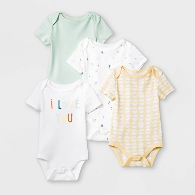 Baby 4pk 'ABC' Short Sleeve Bodysuit - Cloud Island™ Mint/Yellow/White 3-6M