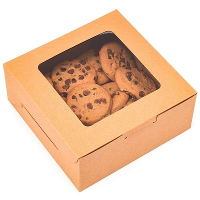 """Juvale 50-Pack Kraft Paper Box with Window, Pastry Boxes Take Out Containers for Bakery Cookie Cupcake Dessert, 6""""x6""""x2.5"""", Brown"""