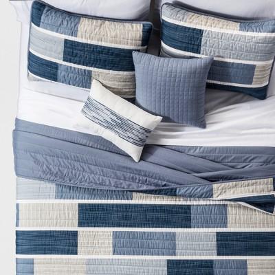 Blue Elliott Printed Color Block Quilt Set (King)5pc - JLA Home