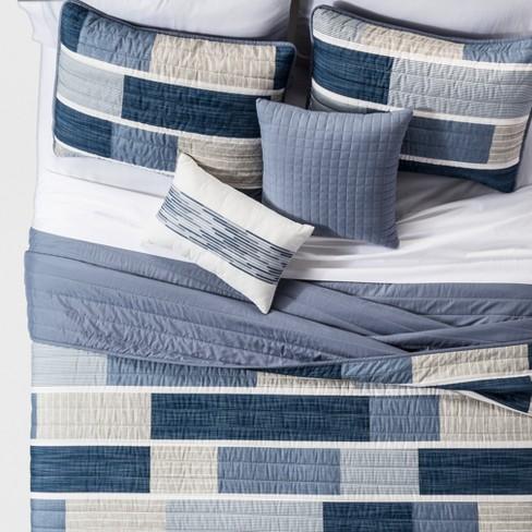 Blue Elliott Printed Color Block Quilt Set (Full/Queen) 5pc - JLA Home - image 1 of 2