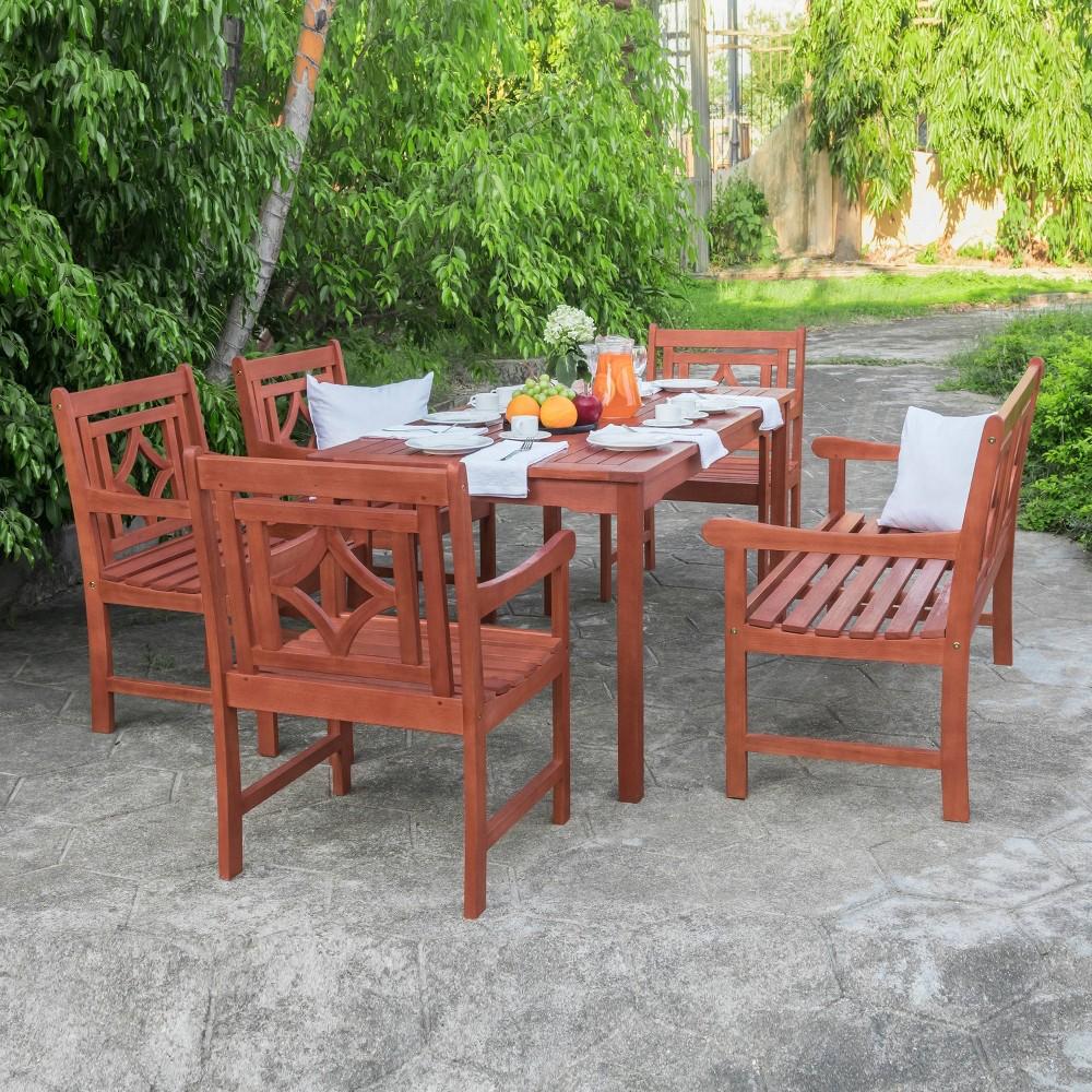 Malibu 6pc Rectangle Wood Outdoor Patio Dining Set - Tan - Vifah
