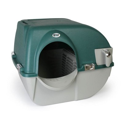 Omega Paw VM-RA15-1-PR Premium Roll N Clean Plastic Self Cleaning Enclosed Cat Kitten Self Separating Litter Box, Forest Green