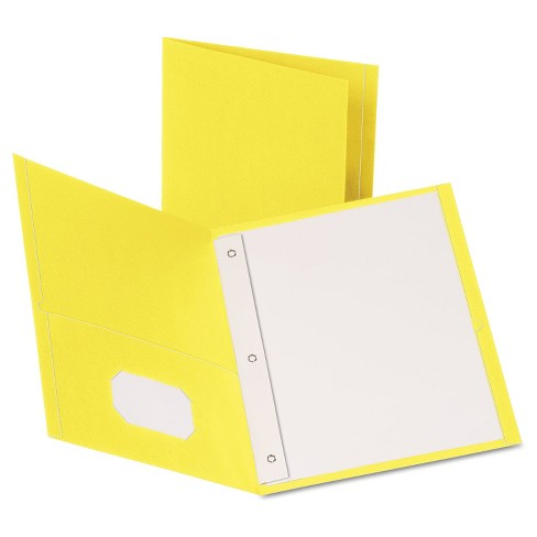 "Oxford® Twin-Pocket Folders with 3 Fasteners, Letter, 1/2"" Capacity, Yellow, 25/Box - image 1 of 1"