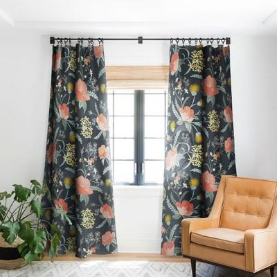 Heather Dutton Poppy Meadow Midnight Single Panel Blackout Window Curtain - Deny Designs