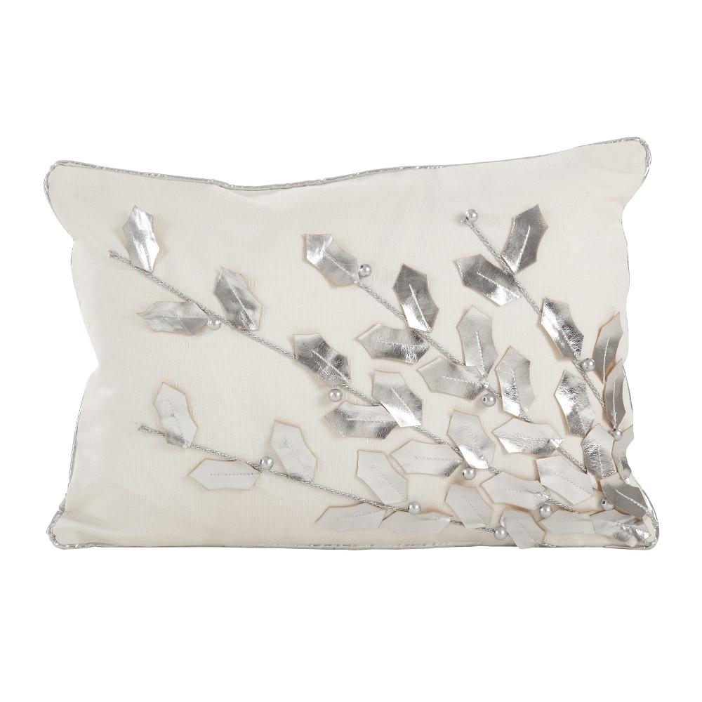 Metallic Poinsettia Branch Design Holiday Cotton Poly Filled Throw Pillow Soft Silver Saro Lifestyle