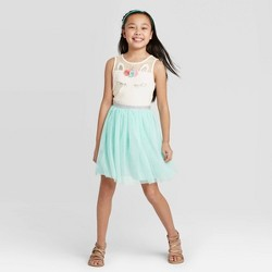 Girls' Unicorn Tulle Dress - Cat & Jack™ Aqua