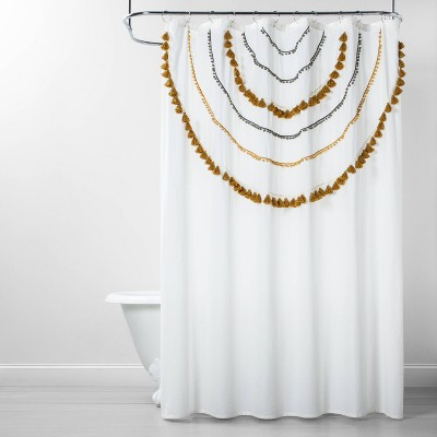 Scalloped Tassels & Pom Poms Shower Curtain Yellow/Gray - Opalhouse™