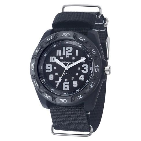 Men's Wrist Armor C42 Backlight Watch, Black And White Dial, Black Nylon Strap - image 1 of 3