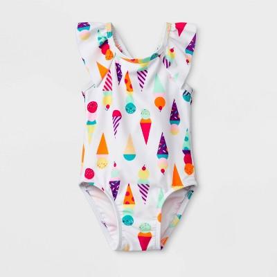 Baby Girls' Ice Cream One Piece Swimsuit - Cat & Jack™ White 18M