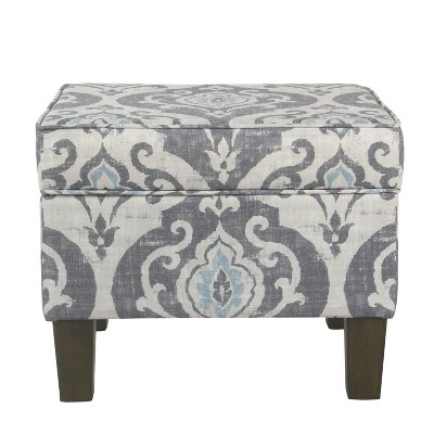 Wooden Hidden Storage Ottoman with Patterned Fabric Upholstery Gray/Blue - Benzara