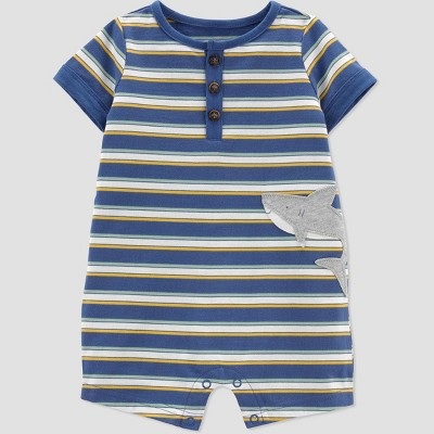 Baby Boys' Shark Striped Romper - Just One You® made by carter's Blue