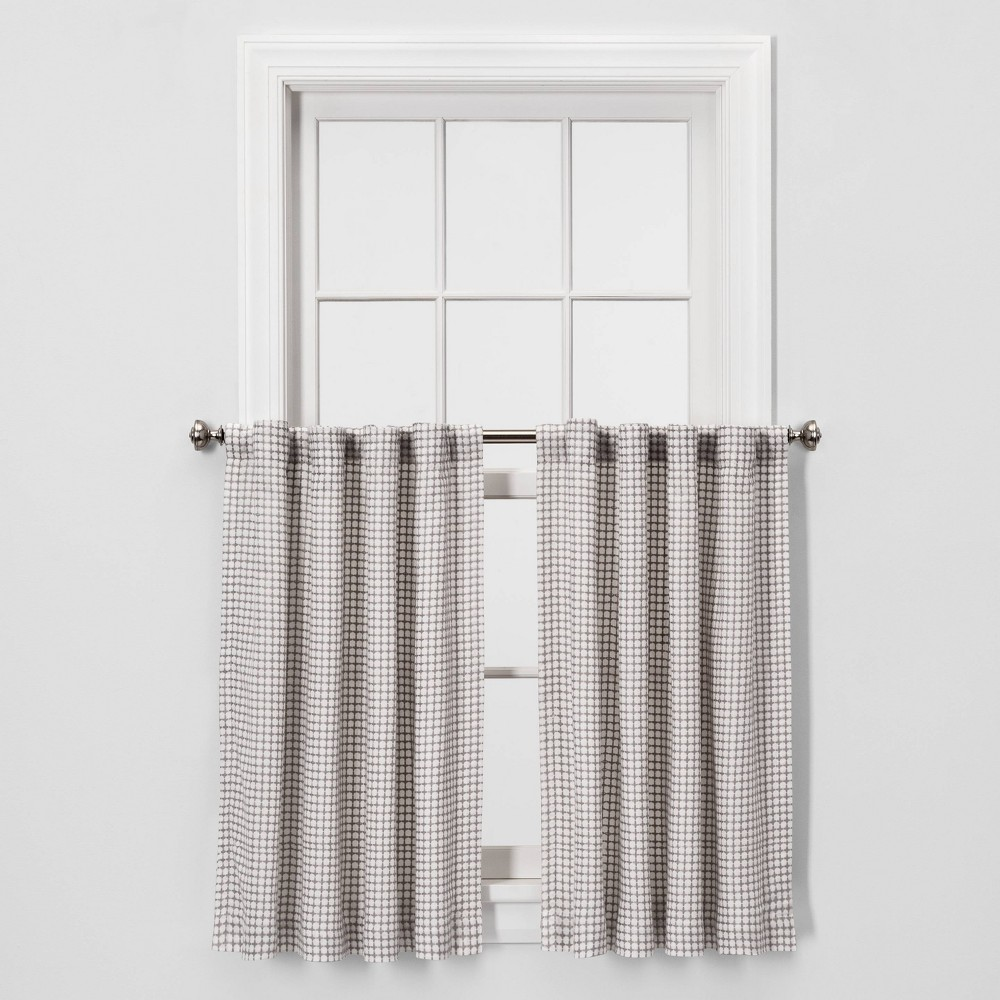 "Image of ""2pc 36""""x42"""" Honeycomb Weave Curtain Panel Gray - Threshold"""