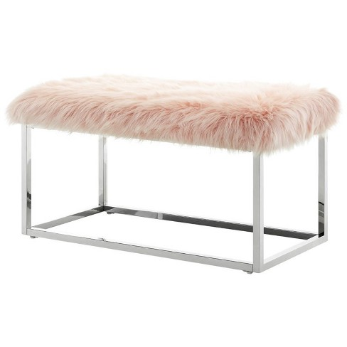 Joseph Pink Faux Fur Bench - Chrome Frame - Ottoman in Red - Posh Living - image 1 of 3