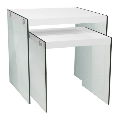 Monarch Specialties Tempered Glass Accent 2-Pc. Nesting End Tables, Glossy White - image 1 of 4