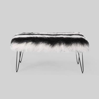 Binniker Faux Fur Bench Black/White - Christopher Knight Home