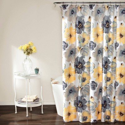 Leah Floral Shower Curtain Yellow/ Gray - Lush Décor