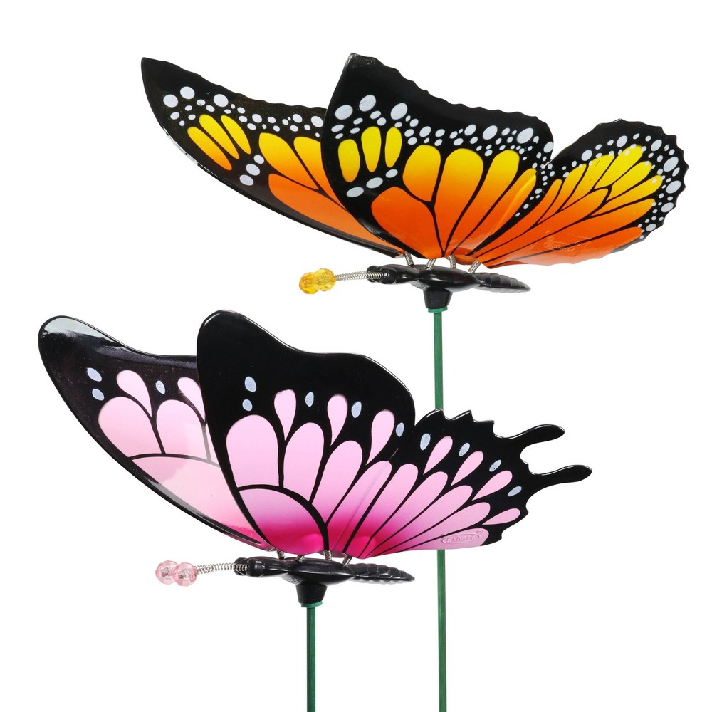 """Top 2pk 11"""" Plastic and Metal Windy Wings Butterfly Stakes - Exhart"""