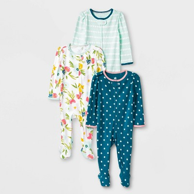 Baby Girls' 3pk Floral Fields Zip-Up Sleep N' Play - Cloud Island™ Mint Green 6-9M