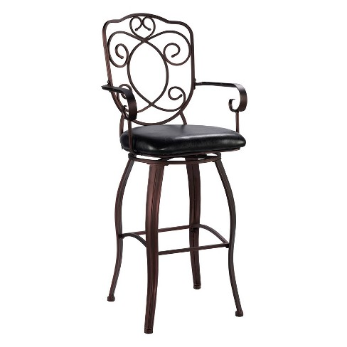 "29"" Crested Back Bar Stool Upholstered Seat - Brown Metal - Linon - image 1 of 4"