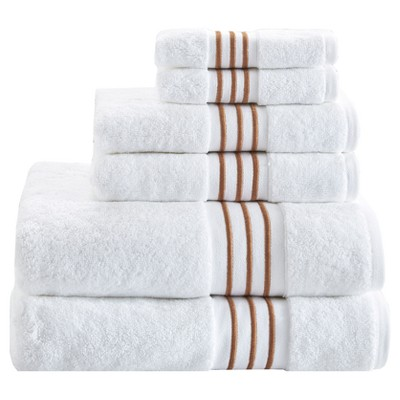 6pcs Belmont Cotton Solid Towel Set with Embroidery Taupe