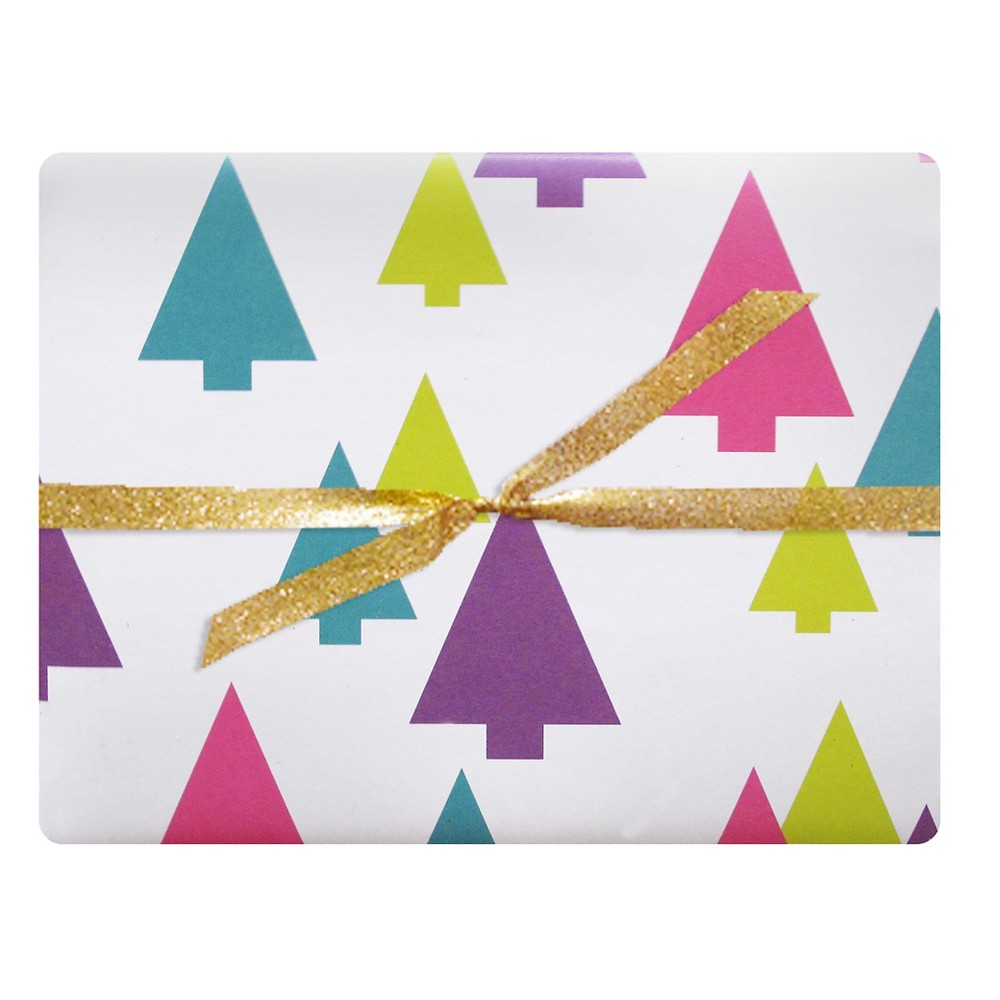 Image of 3ct Festive Trees Luxe Gift Wrap