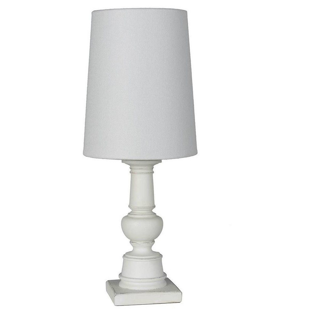 Image of Accent Table Lamp with Turned Base White (Includes Energy Efficient Light Bulb) - Mastercraft International