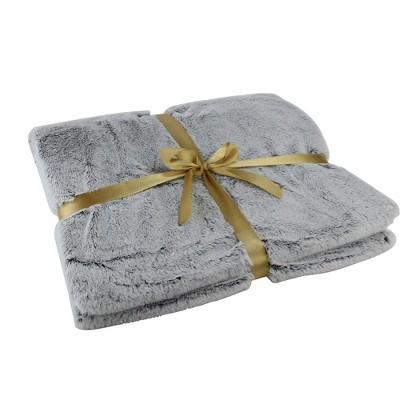 "Northlight 55"" x 62"" Plush Faux Fur Throw Blanket - Light Gray"