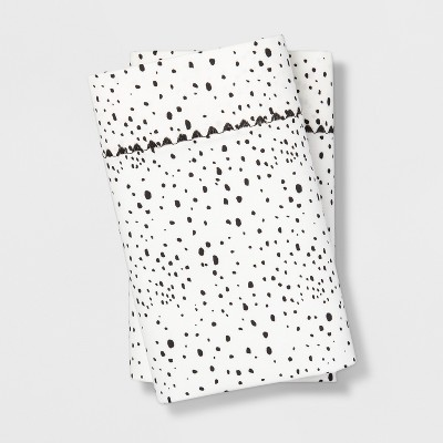 King 400 Thread Count Dotted Print Cotton Performance Pillowcase Set White/Black - Opalhouse™