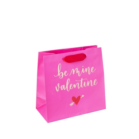 """Small Square """"Be mine Valentine"""" Gift bag Gold/Pink - Spritz™ - image 1 of 1"""