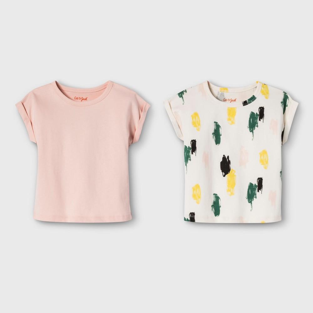 Toddler Girls' 2pk Short Sleeve T-Shirts - Cat & Jack Just Peachy/Print 18M, Multicolored