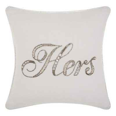 Hers  Sequined Throw Pillow White - Mina Victory