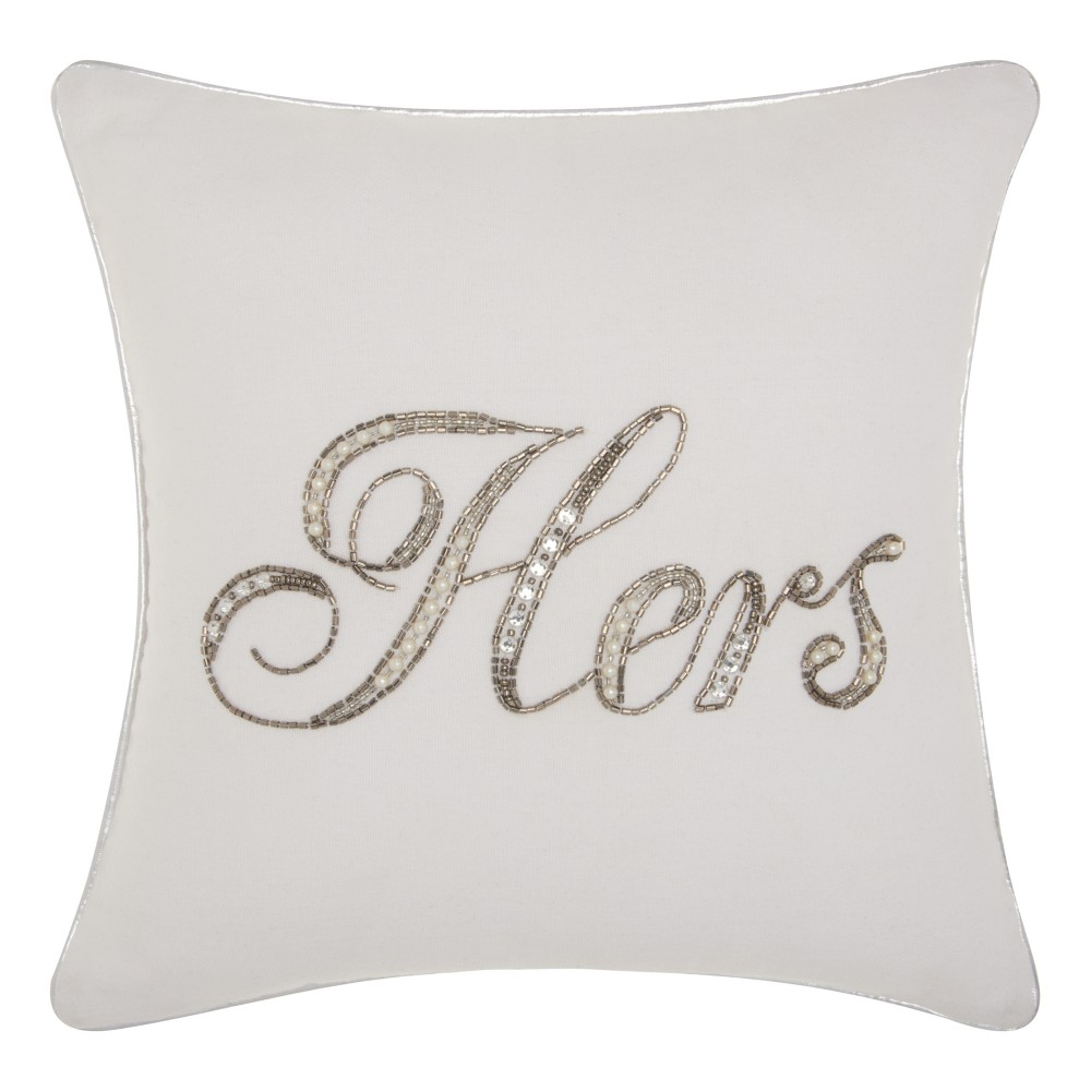"Image of """"""Hers"""" Sequined Throw Pillow White - Mina Victory"""