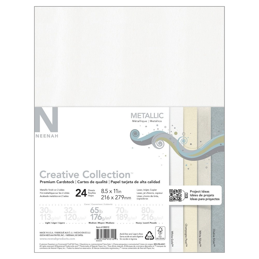 "Image of ""Neenah Creative Collection Metallic Specialty Cardstock, 8.5"""" x 11"""", 65lb., 4-Color Assortment, 24 Sheets"""