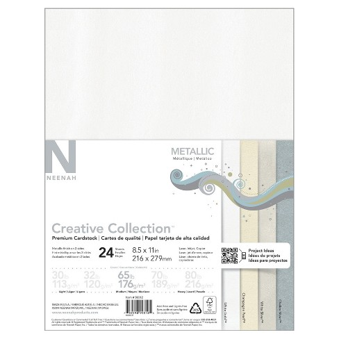 """Neenah® Creative Collection™ Metallic Specialty Cardstock, 8.5"""" x 11"""", 65lb., 4-Color Assortment, 24 Sheets - image 1 of 3"""
