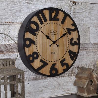 """11"""" Langton Farmhouse Wall Clock Antique Brown - FirsTime & Co."""
