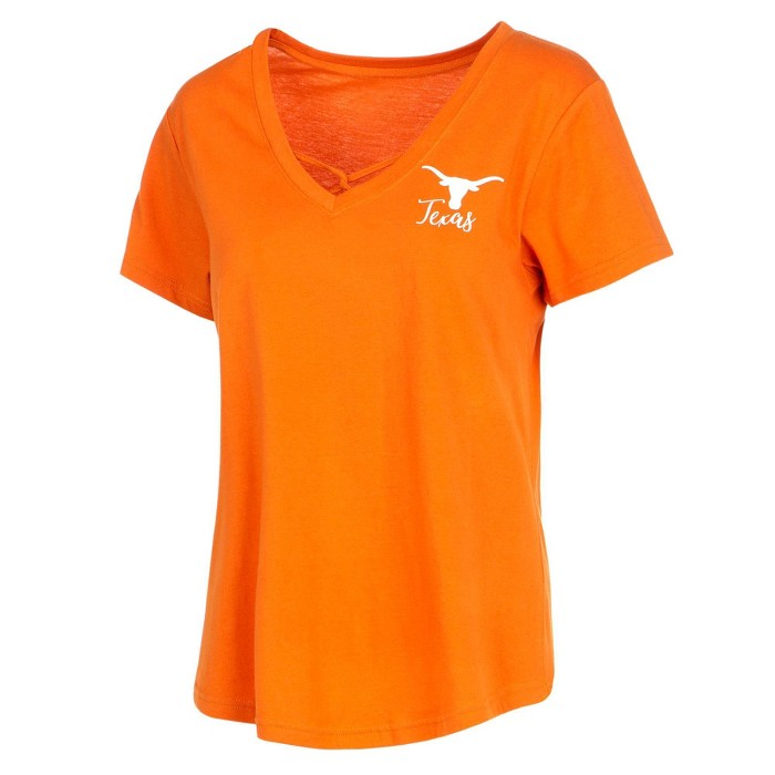 NCAA Texas Longhorns Women's Short Sleeve V-Neck Fashion T-Shirt - image 1 of 1