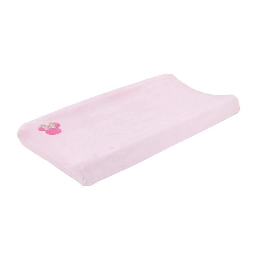Image of Disney Minnie Mouse Love To Love Pink Plush Coral Fleece Changing Pad Cover with Embroidery