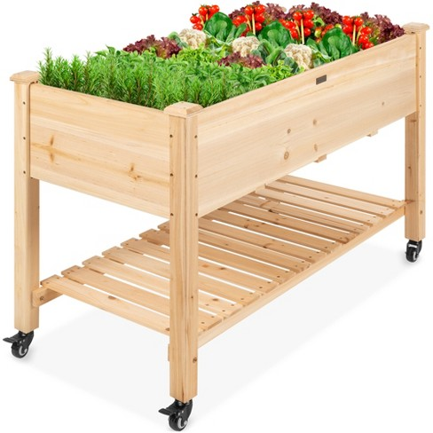 Best Choice Products Raised Garden Bed 48x24x32in Mobile Elevated Wood Planter w/ Lockable Wheels, Storage Shelf, Liner - image 1 of 4