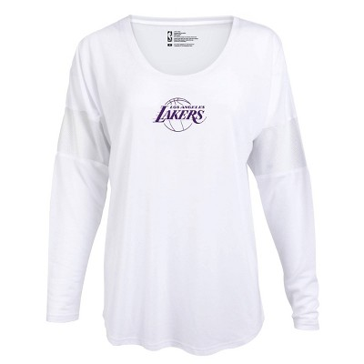 NBA Los Angeles Lakers Women's Core Athletic White Mesh Insert Long Sleeve T-Shirt - M