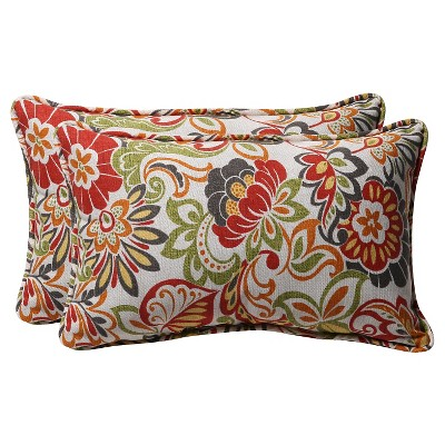 Outdoor 2-Piece Lumbar Toss Pillow Set - Green/Off-White/Red Floral 18