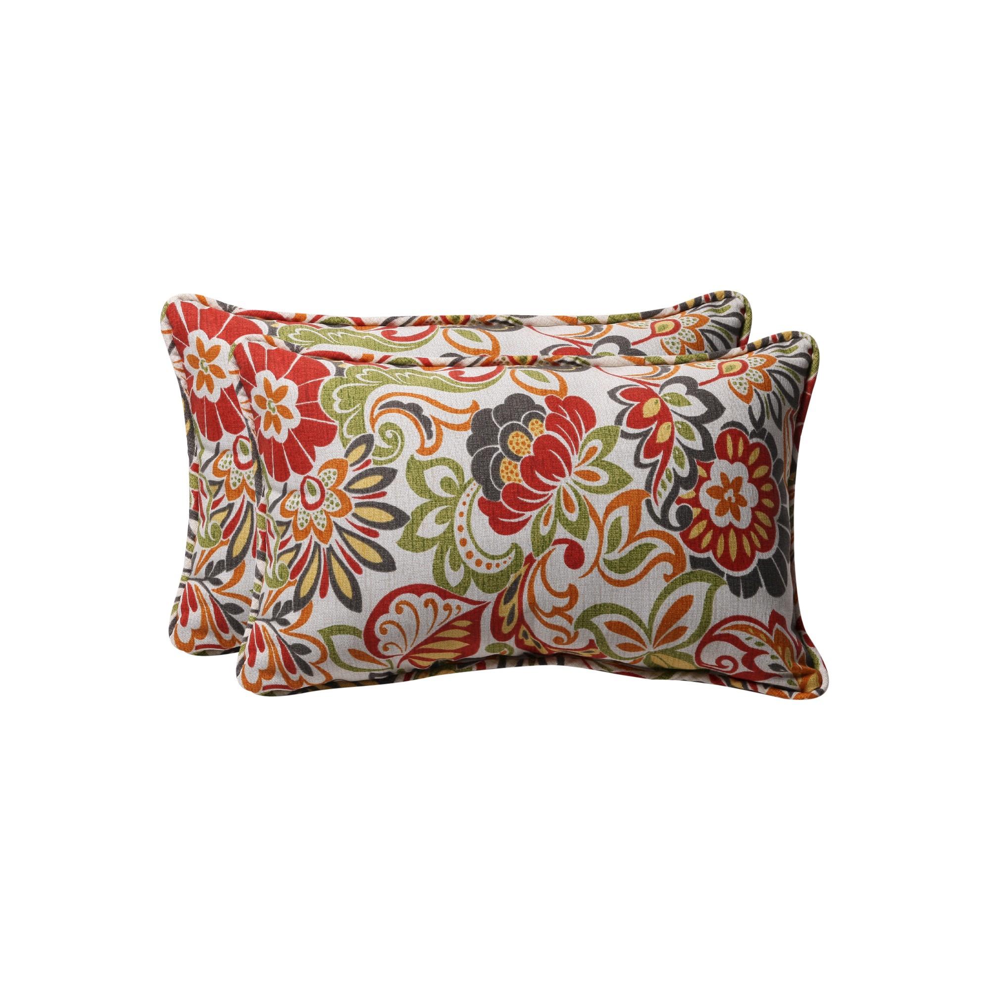 'Outdoor 2-Piece Lumbar Toss Pillow Set - Green/Off-White/Red Floral 18'', Red Green'