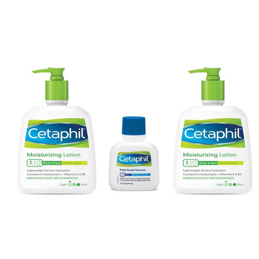 Image of Cetaphil Moisturizing Lotion - 2ct/16oz with Daily Facial Cleanser - 2oz